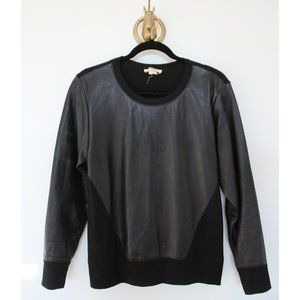 Helmut Lang Black Leather Crewneck sweater, M